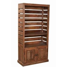 Sale 9245T - Lot 43 - A rustic teak cabinet with shelving above two doors. Dimensions: H 152 x W 77 x D 31cm
