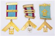 Sale 8265 - Lot 319 - THREE 9CT GOLD MASONIC BREAST JEWELLS BY MUIR & BLASHKI; one with 2 bars, one with 3 bars, other with 3 rolled gold bars, each suspe...