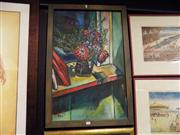 Sale 8429A - Lot 2069 - Artist Unknown Still Life with Flowers in Jug Acrylic on Board SDLL