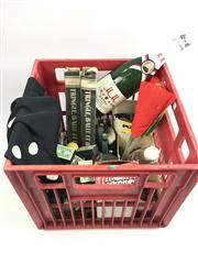 Sale 8539M - Lot 264 - Crate of Vintage Tricks, including card-in-bottle, pennies, and other boxed tricks