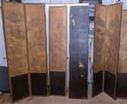 Sale 8550H - Lot 248 - An eight panel folding Japanese folding screen room divider with landscape scenes, damages and the joinery to each panel are split,...