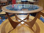 Sale 8705 - Lot 1096 - G Plan Atmos Circular Teak Coffee Table with Glass Top