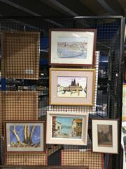 Sale 8752 - Lot 2071 - Group of (5) Assorted Paintings, Watercolours and a French Etching etc