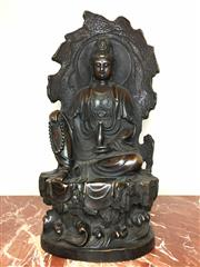 Sale 8995H - Lot 50 - A bronze figure of a seated Buddha, total height 58cm