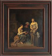 Sale 8976H - Lot 87 - After Cornelis Bega Drunken Lot with his two daughters, oil on canvas. 39x35cm