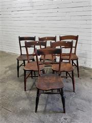 Sale 9068 - Lot 1078 - Assembled Set of Six Elm and Fruitwood Victorian Provincial Dining Chairs, with rail backs, timber seats & turned legs with stretchers