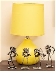 Sale 9071H - Lot 57 - A group of frog musicians fashioned from nuts and bolts together with a yellow ceramic lamp, Height of lamp 32cm