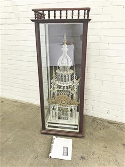 Sale 9097 - Lot 1003 - Fretwork Maquette of a Persian Style Tower, possibly in a walnut & glass case with turned gallery top, with provenance (one turret l...