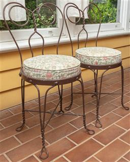 Sale 9120H - Lot 242 - A pair of wirework café chairs with circular seat pads, Height of back 84cm