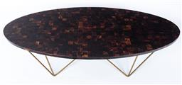 Sale 9140W - Lot 16 - An Oly George cocktail table with oval top and metal base, Height 42cm x Length 168cm x Width 82cm, RRP $5195