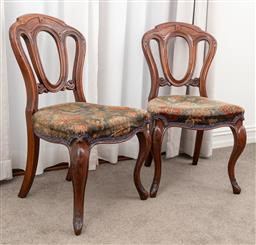 Sale 9160H - Lot 247 - A pair of antique mahogany admiralty back dining chairs with cabriole legs and tapestry upholstery, Height of back 78cm