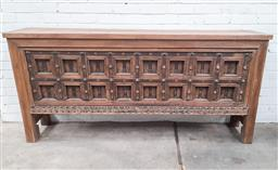 Sale 9245T - Lot 44 - An interesting timber console table with reclaimed timber panels to front. Dimensions: H 94 x W 200 x D 40cm