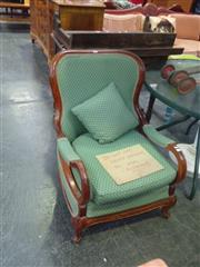 Sale 7969A - Lot 1031 - Hoop Arm Lounge Chair in Green Fabric