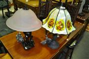 Sale 8093 - Lot 1305 - Leadlight Shade Table Lamp & Another Table Lamp