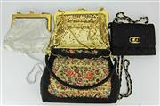 Sale 8173F - Lot 395 - FOUR VINTAGE EVENING BAGS; 2 glomesh (gilt by Park Lane), one beaded and emboriders, the other Olga Berg quited satin. 13-20cm.