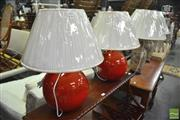 Sale 8337 - Lot 1090 - Pair of Ceramic Italian Made Table Lamps with Ball Shades (2837R)