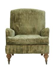 Sale 8342A - Lot 189 - A vintage green velvet oversized archair with burlap sides on turned legs, H 101 x W 74 x D 91cm