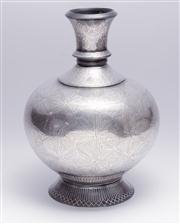 Sale 8376A - Lot 53 - A fine Sterling Silver painted flower vase with narrow neck and boulbous body, Ht: 19cm