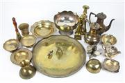 Sale 8410 - Lot 36 - Brass Candlesticks with Other Metal Wares incl. Silver Plated Teapots