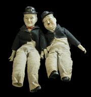 Sale 8575J - Lot 127 - A pair of vintage porcelain Laurel and Hardy dolls in felt costume, H of each 48cm, (foot missing from Laurel)