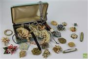 Sale 8512 - Lot 51 - Costume Jewellery inc Brooches and Beaded Necklaces and Ladies Watches
