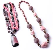 Sale 8550F - Lot 55 - Two beaded necklaces, including howlite and agate.