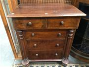Sale 8882 - Lot 1002 - Unusual Small Victorian Mahogany or Cedar Chest of Five Drawers, with over cantilevered top on turned half columns & feet