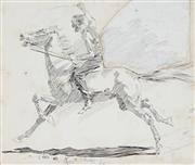 Sale 8955A - Lot 5037 - George Washington Lambert (1873 - 1930) - Galloped Away… As Fast As The Horse Could Lay Legs To The Ground, 1895 22 x 25 cm (frame...