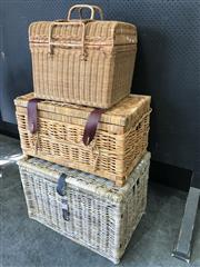 Sale 9043 - Lot 1064 - Collection of Various lift Top Wicker Trunks (Various Sizes)