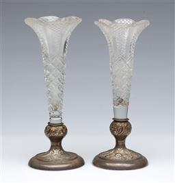 Sale 9098 - Lot 17 - Pair of Sterling Silver based glass trumpet vases (H17cm, minor chips to glass)