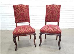 Sale 9151 - Lot 1260 - Set of ten red and gold brocade upholstered dining chairs - 127 (h112 x w40 x d48cm)