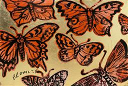 Sale 9248H - Lot 136 - DAVID BROMLEY (1960 - ) Original Synthetic Polymer and Gold Leaf Painting on Canvas Title: Butterflies Signed: Lower Left Im...