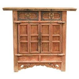 Sale 9245T - Lot 62 - A vintage Chinese timber two door cabinet, from Shanxi Province, with painted and floral carved sections. Dimensions: H 104 x W 116...
