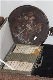 Sale 8160 - Lot 88 - Vintage Mahjong Set with Other incl Japanese Lacquerware Plate