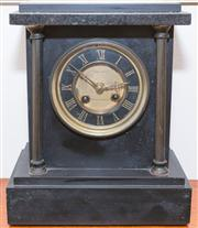 Sale 8308A - Lot 81 - A Hardy Brothers slate mantle clock with roman numerals to face, H 26cm, including key and pendulum