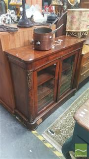 Sale 8447 - Lot 1016 - Victorian Inlaid Walnut Credenza, with gilt brass mounts & two glass panel doors (various faults)