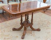 Sale 8470H - Lot 113 - A Victorian figured walnut occasional table with satin wood banding and on bird cage base, H 69 x W 105 x D 54cm