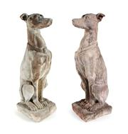 Sale 8473A - Lot 32 - A pair of well weathered cast stone garden figures of greyhounds/whippets, some small chips, H 78cm