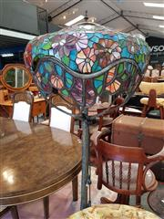 Sale 8649R - Lot 196 - Leadlight Shade Lamp on Metal Floral Base