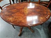 Sale 8724 - Lot 1022 - Inlaid Loo Table on Pedestal Base