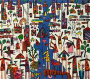 Sale 8863A - Lot 5013 - Bruce Earles (1961-) - Jigsaw Waterway 122 x 140cm (stretched and ready to hang)