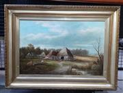 Sale 9069 - Lot 2037 - Artist Unknown Early Settler Farmhouses oil on canvas, frame: 59 x 79 cm, unsigned -