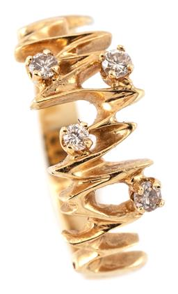 Sale 9124 - Lot 556 - AN 18CT GOLD RETRO DIAMOND RING; organic design set with 4 round brilliant cut diamonds totalling approx. 0.16ct, size P, width 9mm,...