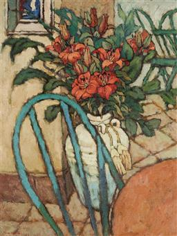 Sale 9141 - Lot 535 - Fu Hong (1946 - ) Oriental Lillies & Interior oil on canvas 79.5 x 59.5 cm (frame: 100 x 80 x 5 cm) signed lower left