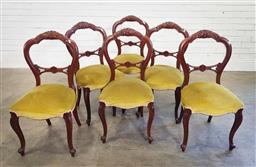 Sale 9188 - Lot 1678 - Set of 6 mahogany balloon back dining chairs (h:92 x w:46 x d:40cm)