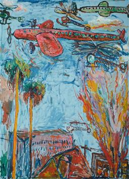 Sale 9248H - Lot 177 - GEOFFREY HARVEY (1954 - ) Oil on Canvas Painting - 1985 Title: Redfern Fires Hand Signed: Lower Right and Verso on Paper Ima...
