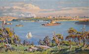 Sale 8000 - Lot 130 - Lionel Lindsay (1874 - 1961) - Sydney from Cremorne 1912 oil on canvas on board