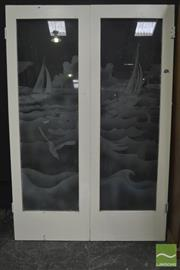 Sale 8326 - Lot 1001 - Pair of 1950s Etched Glass Interior Bi Fold Doors