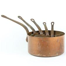 Sale 8351A - Lot 57 - Set of Five Graduated French Copper Saucepans diameter 12-20cm depth 6-10cm(approx weight 4kg)