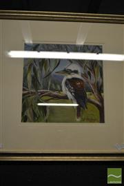 Sale 8495 - Lot 2041 - Julee Frazer Kookaburra, Acrylic on Canvas Board, Frame Size 56.5x56.5cm, SLR